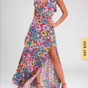 Dinah Red Floral Pront Sleeveless Maxi Dress